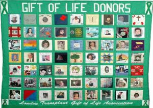 A quilt of donors hanging in front of the Transplant Unit, showing both living and deceased donors.